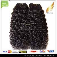 Wholesale Mix length quot quot Malaysian Human Hair Extensions Double Weft Kinky Curly Unprocessed Natural Color Black A