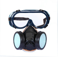 chemical respirator mask - High quality Dual Cartridge Industrial Chemical Gas Anti Dust Paint Respirator Mask Goggles