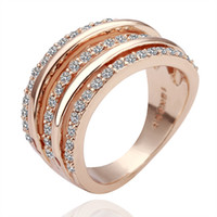 Wholesale Retro style fashion K rose gold lines diamond rings Fashion Cocktail Ring k gold rings party rings wedding rings for women