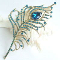 Wholesale 4 quot Pretty Peacock Feather Brooch Pin w Turquoise Rhinestone Crystals EE05860C2