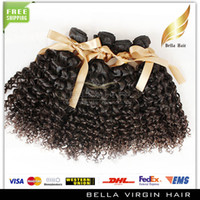 Wholesale New A Unprocessed quot quot Indian Virgin Hair Double Weft Natural Color Hair Extensions Kinky Curly Hair Ounces Pc Bellahair