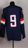 Cheap 2014 Olympic Team USA #9 Zach Parise Dark Blue Jerseys Embroidery Logos Ice Hockey Jersey Can Mix Order