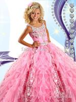 2016 Pink девушки Pageant платья бретельках Кристаллы блестки бисером ярусами оборок органза принцессы девушки официально платья RG6454