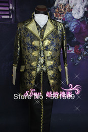 Wholesale blue golden mens period costume Medieval Renaissance stage performance Prince charming William civil war Colonial Belle stage
