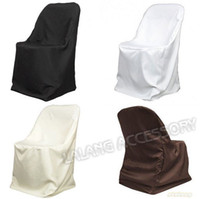 Wholesale 1PC White Ivory Brown Black Colors Satin Fabric Folding Chair Cover For Wedding Banquet Party Hotel Feast Decoration
