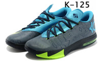 Wholesale NEW Men s KD VI s Away II Black Blue Kevin Durant Basketball Shoes Men s Athletics Sports Shoes Men s Sneakers Training Boots Trainer