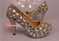 Wedding Heels Flat Heel Newest Shiny crystal beaded diamond lady's formal shoes Women's High Heels Bridal Evening Prom Party Wedding Dress Bridesmaid Shoes