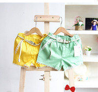 Wholesale new spring summer Kids Girls lace cotton Candy colored shorts hot pants with belt HH