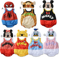 Unisex Summer 100% Cotton Babys 2pcs Romper=Hat+ Romper Sleeveless Jumpsuits 7 Designs 3 Sizes 18M-36Mth Bodysuits Baby Jumper Outwear