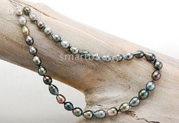 Wholesale tahitian multicolor black green baroque pearls necklace inches k