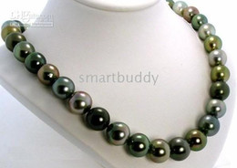 20 ''10-11mm tahitian black green pearl necklace green pearl necklace 14k W-G