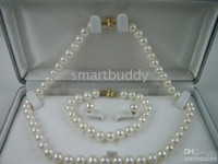 Mers du sud Prix-AAA8-9MM Mer du Sud Blanc Perle Boucles d'oreilles Bracelet Collier SET