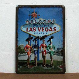 Wholesale 15 cm LAS VEGAS Retro Poster Metal Painting Tin Sign Bar House Decor Vintage Signs
