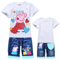 Wholesale EMS Fedex summer baby boys girls clothing sets peppa pig cartoon suits children jeans pant short sleeves Tees T sets Melee