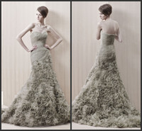 ruffled fabric - 2014 fabric organza simple sheath mermaid wedding dresses ruffle sweep train sweetheart sleeveless backless custom made cheap