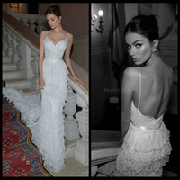Cheap 2014 Berta Bridal Spaghetti Strap Full Lace Layers Sexy Backless Wedding Gowns Pearls Backless Wedding Dresses