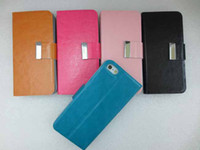 Cheap DHL fast shipping Leather case Wallet leahter Case for iphone 4 4S 5 5s Luxury with Aluminum Buckle