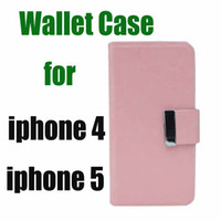 Cheap Leather Wallet Case for iphone 4 4S 5 5s Luxury with Aluminum Buckle with card slot