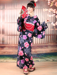 Wholesale Classical Black Sakura Print Cotton Slub Women s Kimono r35 u11 MBE