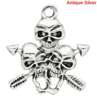 halloween charms - Charm Pendants Halloween Skulls Arrow Antique Silver x3 cm K03095