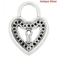 Charms antique cans - Charm Pendants Heart Lock Antique Silver Can Hold ss12 Rhinestone cm x cm K03802 lover gifts