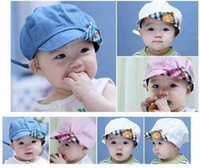 Spring / Autumn baby blue helmet - Cute Baby Two Tone Infant Hat With On off Button Caps boys sunhat topee hat Fisherman hat kid Child sun helmet