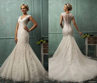 Satin Beaded  2014 new Amelia Sposa v neck cap sleeve lace tulle mermaid wedding gowns appliques fit flare sheer backless charming bridal wedding dresses