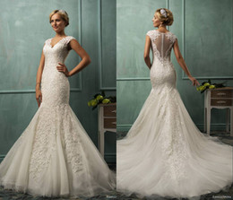 Wholesale 2014 Amelia Sposa V Neck Cap Sleeve Lace Tulle Mermaid Wedding Gowns Appliqued Fit Flare Sheer Backless Plus Size Bridal Party Dresses SSJ