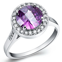 Cheap Women Oval Base Clear Cz Rounded Purple Amethyst Gemstone 925 sterling Silver Ring 18k white gold plated gem rings wedding rings for women