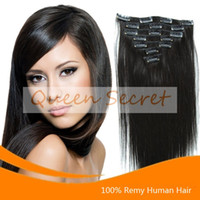 Wholesale Clip in Human Hair Extensions Full Head set Dark Brown Silk Straight Inches