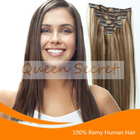24 inch clip in human hair extensions - Clip In Human Hair Extensions Full Head set Brown Blonde Silk Straight Inches