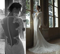 Cheap New 2014 Crystal Vintage Lace Mermaid Wedding Dresses Deep V-Neck Long Sleeve Backless Pearls Sexy Berta Bridal Sheer Church Bridal Gowns
