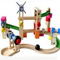 Wholesale Wooden puzzle intelligence early education a roller coaster track blocks blocks car ball orbit