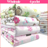 Wholesale Newborn Swaddle Microfiber Receiving Blankets Multifunction Bath Towel For Winter Cartoon Cashmere Baby Bed Sheet