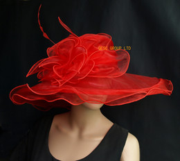 Red Big Organza Hat,sinamay hat church hat with Large Organza Trim and feathers for wedding,party,kentucky derby.brim width 15.5cm.