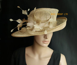 Wide brim Beige sinamay hat formal dress Hat with feather flower for kentucky derby,wedding,party.FREE SHIPPING.