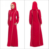 Wholesale 2014 Fashion New Arrival Red Embroidery Long Sleeve Arabic Muslim Caftan Hijab Evening Dresses Made in Turkey