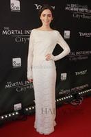 Wholesale 2014 Custom Made New York Fashion Week Hot Elegant Charming Crew Full Sleeve Straight Floor Length Lace white Prom Gowns Evening Dress i30