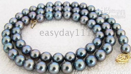 "19""8-9MM SOUTH SEA PEACOCK BLUE BLACK PEARLS NECKLACE 14K"