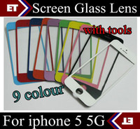 For Apple iPhone   Replacement Front Glass Screen Lens Part for Apple iPhone 5 5G black White + tools JP7