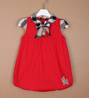 Wholesale 2014 GIRL BUR BB SUMMER BABY SKIRT WITH PLAID BOW and cute dog CM CM children girl WHITE red darkblue CHEAP