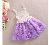Cheap Retail 2014 New Red Flower Rose Baby Girl Princess Dress Wedding with Big Bowknot Kids Birthday Party Clothes Children Clothingtt