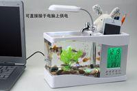 Wholesale LCD Mini USB Fish Tank Aquarium With Desktop Lamp Light LED Clock Calendar Pen Holder White Black