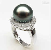 Wholesale tahitian mm peacock black sea pearl ring s