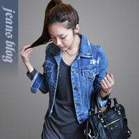 Cheap 2013 Hot Sale Korean Style Ladies Fashion Jean Short Coat Classical Fashion Jean Clothes ALMM312