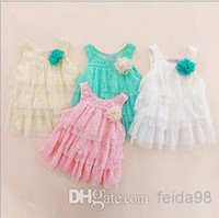 TuTu Summer A-Line Wholesale - 2014 infant baby girls lace dresses children clothing for autumn -summer kids princess flower tutu dress 4colors pink cake dress