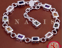 Wholesale Fashion Jewelry Silver Plated Multicolor Gemstone CZ Zircon Crystal Bracelet Bangles YS261