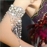 Wholesale 32 CM High Quality Bridal Armbands Crystal Rhinestone Bracelets Jewelry Set Wedding Accessories CN134