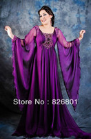 Cheap Free Shipping Hot Sale Sexy Round Neck Purple Beaded Arabic Dubai Abaya Kaftan Long Evening Dresses