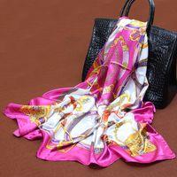 Wholesale Big Size x90cm Bohemian style Silk Square Scarf Women Fashion High Quality Cheap Imitated Silk Satin Scarves Polyester Shawl Hijab